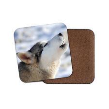 Howling Husky Drinks Coaster - Wolf Animal Wild Wolves Dog Winter Fun Gift #8556