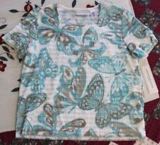 NWT Alfred Dunner Womens PM (Petite Medium) Teal & Brown Butterfly Top, Ret. $50