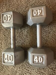 40 lb Pair Hex Cast Iron Dumbbells USA SHIPS ASAP!  80lbs Total Used Hand Weight