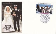 (21324) Nukufetau-Tuvalu FDC Prince Andrew Fergie Royal Wedding 23 July 1986