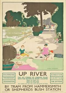 Up River, 1926, Art Deco English Travel London Underground Poster
