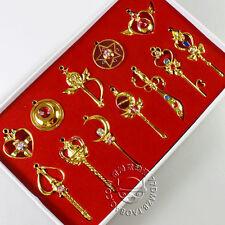 New 12pcs/Lots Sailor Moon pendants +1chain necklace set Gold Best Gift