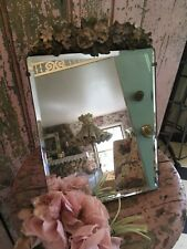 Adorable Antique Barbola Beveled Mirror Roses Forget Me Knots Chippy 1920s #C