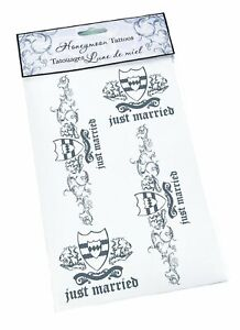 "Lillian Rose Wedding Honeymoon Groom ""Just Married"" Temporary Tattoos BD310GR"