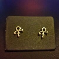 PRINCE LOVE SYMBOL SILVER PL STUD EARRINGS O(+> Necklace~Rogers Nelson~Musician