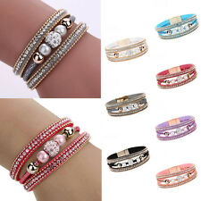 Women Multilayer Leather Crystal Rhinestone Bangle magnetic Cuff Wrap Bracelet