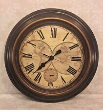 Large Quartz Round Wall Clock with Old World Map Face and Seconds Hand Runs!