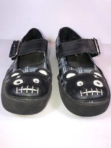 T.U.K. Sz 37 ?  Black & White Plaid Teddy Bear Lace Up Sneakers