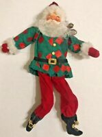 Vtg Santa Shelf Sitter Painted Face Christmas Decoration Dangly Feet Santa Claus