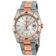 Rolex Datejust Silver Index Dial 18k Rose Gold Turn-o-Graph Bezel Oyster