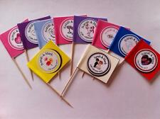 24 x Personalised Cup Cake Toppers Picks Flag Wedding Anniversary Engagement