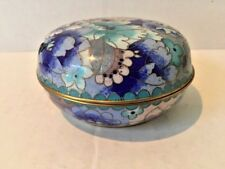 Antiques, Asian Antiques, Boxes, Cloisonne, Blue Floral, Round, 1900-1940, China