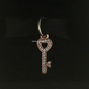 SYMBOL of TRUST KEY TO HEART Genuine PANDORA Rose GOLD Plated Dangle Charm