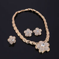 Fashion Gold Necklace Plated Africa Dubai Crystal Wedding Party Ring Jewelry Set