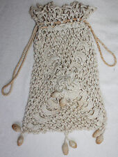 COTTON CROCHET LACE BAG WITH GOLD COATED DRAWSTRING & 11 BAUBLES