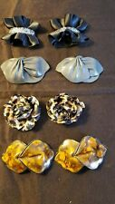 Vintage Shoe Clips Asst'd Materials, Sizes & Styles, 4 pr-dark colors/prints