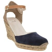 New Womens SOLE Navy Tan Annie Suede Shoes Espadrilles Buckle