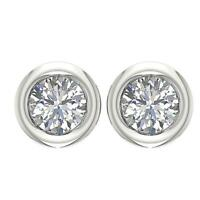 SI1 G 0.75 Ct Genuine Diamond Solitaire Studs Earrings 14K White Gold Bezel Set