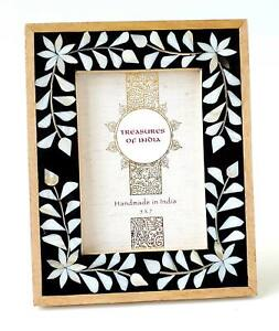 Photo Frame Light Wood With Mother of Pearl Floral Vine Set In Black Resin 5x7