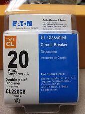 Eaton Cutler Hammer 20 Amp Type CL Circuit Breaker #CL220CS New! Free Shipping!