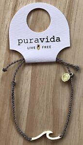 Pura Vida Bracelet Hammered Wave Gold with Light Gray Cord Charm NWT