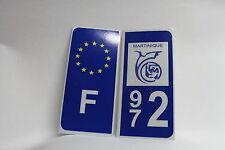 2 stickers REFLECHISSANT département 972  MARTINIQUE+F