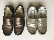 2 PAIR primigi anti shock shoes size 37 Silver and Bronze leather