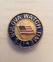 """Bulova Watch Its Time Flag 3/4"""" Lapel Pin Lot Of 3 Round Gold Vtg Clutch Back"""
