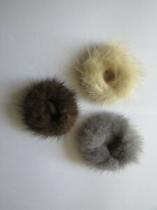 3pcs of real mink fur hair scrunchies ponytail holders hair band scrunchies(bbb)