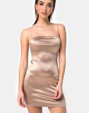 MOTEL ROCKS Kozue Dress in Satin Gold Size 2XS XXS (mr37)