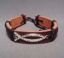 Christian Bracelet BROWN LEATHER Cuff SILVER Tone ICHTHUS FISH Rhinestone Accent