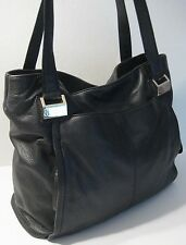 Vince Camuto Black Leather Satchel Shoulder Briefcase Style Purse Bag Handbag
