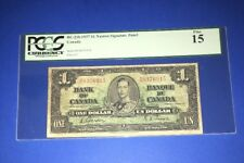 PCGS Currency Graded Bank Of Canada $1 Banknote 1937 Pic21b Fine15