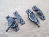 Cast iron Vintage old Victorian design window fitch fastener window latch lock