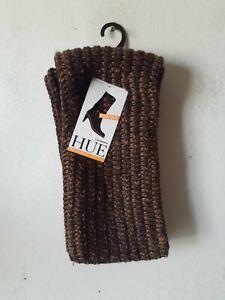 HUE® Womens Ribbed Slouchy Legwarmer Boot Socks chunky knit Brown ONE SIZE NWT