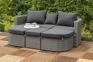 Merxx Madeira Gartenmöbel Multifunktionsbett Relaxinsel Hocker Sessel mit Kissen