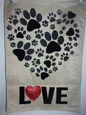 Paw Prints Heart - Burlap Material Garden Flag - Two Sided - 12' X 18' $