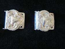 Set  Antique Victorian Repousse Sterling Silver Sash Slide Belt Buckles C l890's