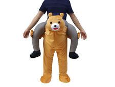 Carry Me Teddy Bear Mascot Costume Ride On Piggy Back Pants Adults Fancy Dress