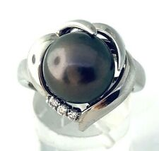 CHRISITINA HAN 18K White Gold 11 MM Tahitian Pearl Diamond Ring (0.15 Ctw)