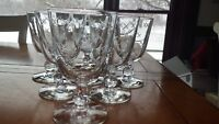 Vintage Etched Water Goblets Glasses with Deep cut X design atop a clove stem 6