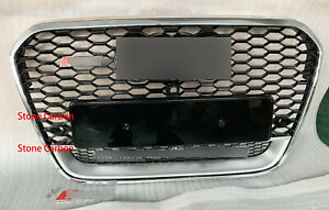 RS6 Style Grille For Audi A6 C7 S6 Chrome Frame Grill Camera Holder 2013 14