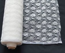 WHITE LACE FABRIC 100% POLYESTER width 114cms great for weddings NET CURTAIN