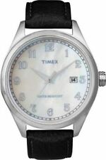 NEW Mens Timex T2N401 Watch Black Leather Band Pearl $95 Originals Indiglo