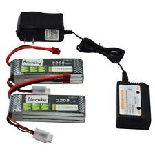 Blomiky 2PCS 11.1V 3S 2200mAh Lipo Battery w/ T Plug & charger for RC Cars Drone