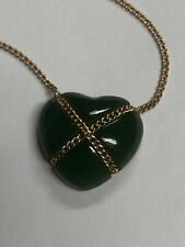 Vinatge Tiffany And Co 14k And Jade Heart Necklace