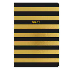 A5 Shimmer Black & Gold Academic Week to View Mid Year Student Diary 2017-2018