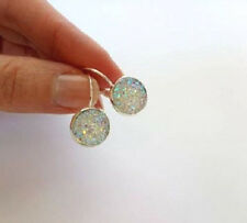 SPARKLING DRUZY RESIN AB ROUND LEVER BACK SILVER EARRINGS 12MM