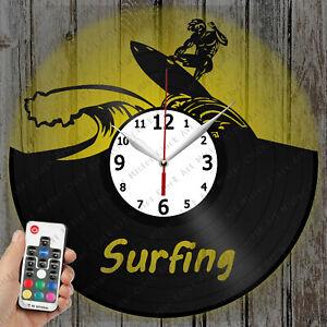 LED Clock Surfing Vinyl Record Clock Art Decor Original Gift 4133