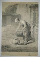 D'après J.F. MILLET - La Bergère - Gravure ancienne par DAMMAN - ECOLE BARBIZON